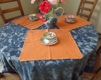 """Sale Vintage set of 3 cotton bland  napkins 16""""x16"""" . Linen . Table Deco.place mats.lot napkins. orange. Home decor, kitchen decor."""