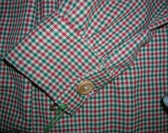 Boys Size 10 Green Red Plaid Homespun Civil War Shirt Reenactment Shirt