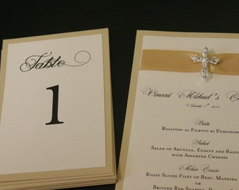 Wedding Table Numbers, Gold Linen, Vintage, French, Two-sided, Flat or Tent Style, Vow Renewal, Custom, Elegant, Romantic, Christian, Unique