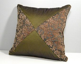 SALE - Decorative Olive Green Pillow, Bronze Green Throw Pillow, Moss Green Pillow, Waverly Buds Chenille Pillow, Moss Green Cushion 14 inch