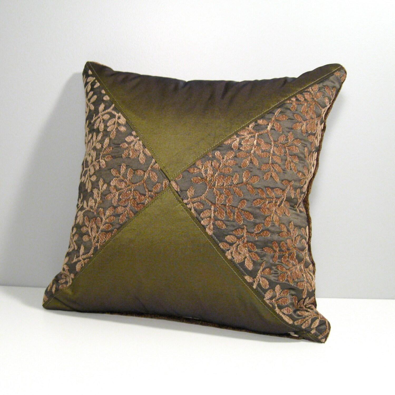 Olive Green Decorative Pillow : SALE Decorative Olive Green Pillow Bronze Green Throw