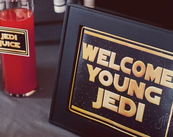 """Welcome Young Jedi 8 x 10"""" Sign - INSTANT DOWNLOAD - Printable Birthday Party Decorations"""