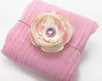 Newborn Pink Cheesecloth Wrap with Blush Pink Flower Headband Newborn Spring Photography Photo Prop Baby Shower Gift
