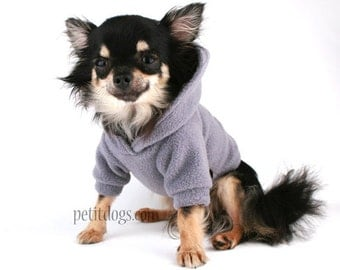 Dog Hoodie Charcoal Grey Polar fleece Dog Sweater