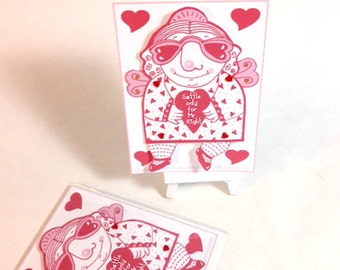 Whimsical Illustrated Paper Doll Valentine Greeting Card for Single Friends