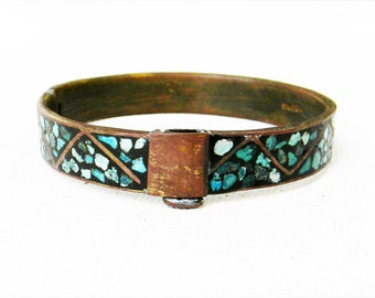Antique Turquoise Bracelet  Brass Hinged Bracelet BRITISH INDIA