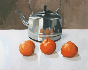 "8x10"" print - fruit still life - ""Three Clementines"""