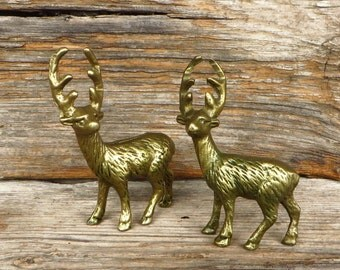 Brass Deer 2 Solid Brass Deer with Antlers 1970s Cabin Farmhouse Country Home Decor