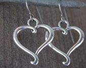 Titanium Earrings, Silver Heart Charms on Hypoallergenic Titanium Ear Wires