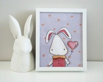 SALE Digital Art Print - Bunny Rabbit - 8 x 10