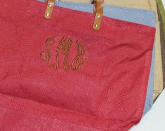 SALE - Monogrammed Tote - Large Tote Bag - Jute Tote Bag