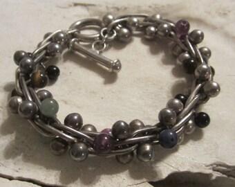 Vintage Sterling Silver Bracelet Fancy Link  Heavy Sterling Silver Jewelry Toggle