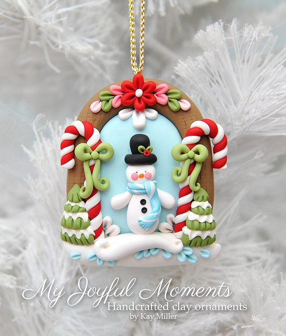 Polymer Clay Christmas Ornament: Handcrafted Polymer Clay Winter Snowman Scene Ornament