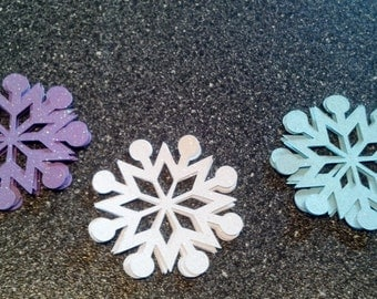 30 Sparkle Snowflake Die Cuts Cupcake Toppers Frozen 3 Inches