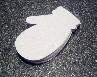 50 Mitten Die Cuts Confetti Sparkle Paper