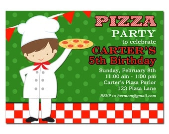 Boy's Pizza Party Invitation Printable or Printed with FREE SHIPPING - You Pick Hair Color/Style and Skin Tone - Pizzeria Party Collection