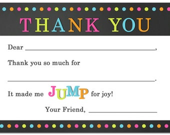 JUMP Party Thank You Note Printable - Fill In The Blank - Jump Love Collection