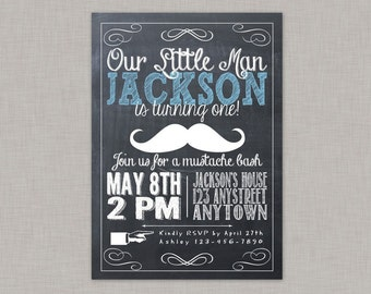 Little Man Invitation, Mustache Birthday Invitation, Mustache Bash