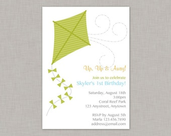 Kite Invitation, Kite Birthday Invitation, Kite Party, Park Party