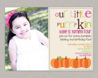 Pumpkin Invitation, Pumpkin Birthday Invitation, Little Pumpkin Party, Printable
