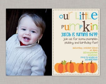 Pumpkin Invitation, Pumpkin Birthday Invitation, Little Pumpkin Party