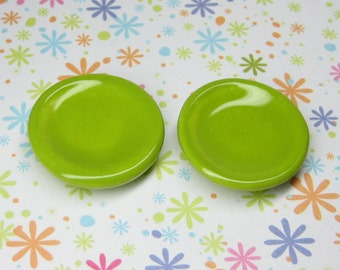 20mm Dollhouse Miniature plates green apple set of 2 pcs 1:12 scale one inch ceramic