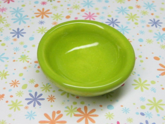 green apple dollhouse miniature mixing bowl 1:12 scale one inch ceramic Supplies playscale miniature