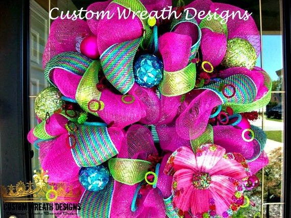 Colorful Whimsical Pink and Turquoise Wreath
