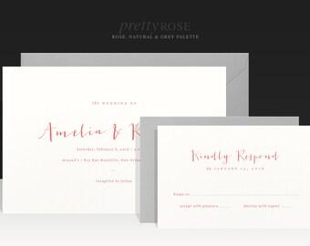 Romantic and Elegant Garden Wedding Invitation - Rose Red Pink Grey Ivory Wedding Invitations - Handwriting Wedding Invites - Amelia