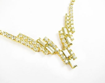 Vintage Rhinestone Necklace Gold Tone, Bridal / Vintage Wedding - Collier Strass.