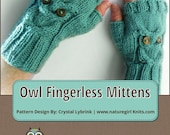 KNITTING PATTERN, Owl Cable Knit Fingerless Mittens, PDF Digital File, Written and Charted Instuctions, Instant Download