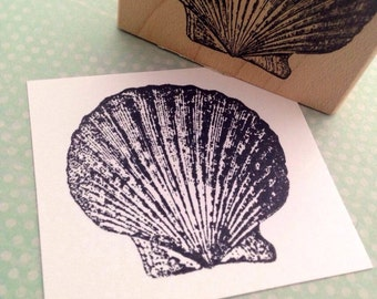 Scallop Shell Rubber Stamp Handmade by 100 Proof Press 3249