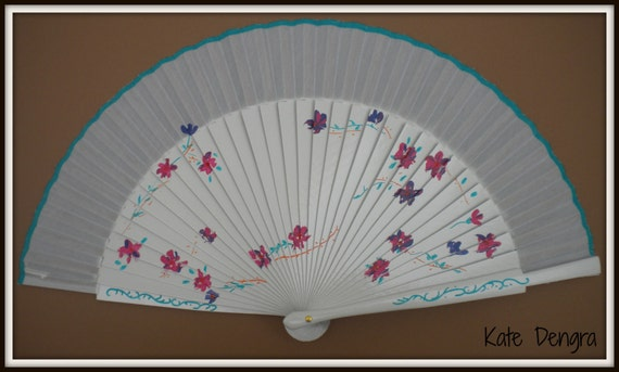 JEWEL Floral Hand Painted SIZE OPTIONS Fabric and Wooden Handheld Folding Fan Made to Order by Kate Dengra Spain