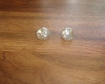 vintage clip on earrings white glass