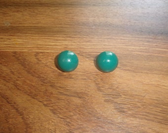 vintage clip on earrings green metal circles