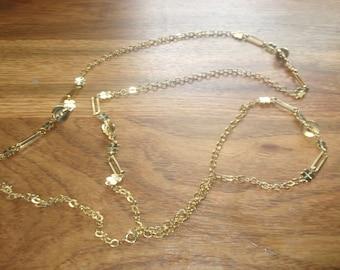 vintage necklace long goldtone chain heavy