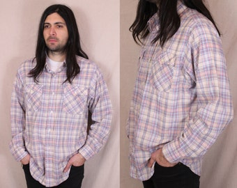 Vintage - Levis - 70s/80s - Light Blue & Pink Plaid - Button Up - Collar - Mens Shirt