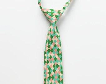 Boys Easter Necktie - Pastel Diamonds - Little Boy Tie