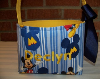 fabric easter basket mickey mouse in light blue and yellow stripes personalization included great storage bin