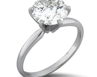 Solitaire Diamond Engagement Ring, 1.75CT Solitaire Round Diamond Engagement Ring 14K White Gold - Size 4-9