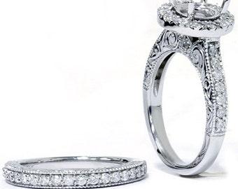Diamond Engagement Ring Setting, Halo Ring Mount, Engagement Ring Semi Mount 1.00CT Vintage Engagement Ring Set 14K White Gold - Size 4-9