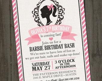 Inspired PRINTABLE Barbie Invitation, Barbie Birthday Party, Barbie Party Invitation, Barbie Invites,