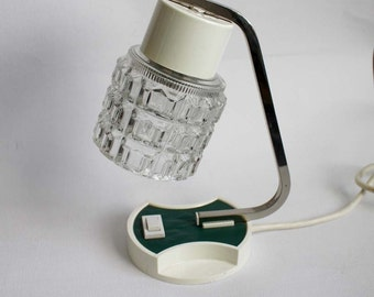 1970s Table Lamp. Chrome, Jade Green, White and Clear Ice Glass.