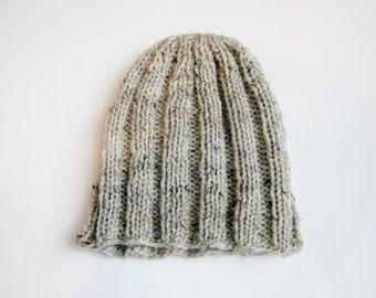 Regular guy knit beanie hat wool oatmeal tweed