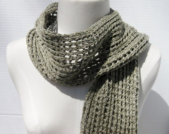 Cotton tweed mesh scarf sage green white hand knitted