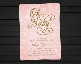 Pink and Gold Baby Shower Invitation - Bokeh Invitation- Gold Baby Shower - Girl Baby Shower - Glitter Baby Shower - Pink Baby Shower
