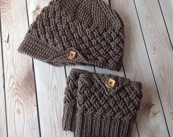 Set of 2 Crochet Patterns for Diagonal Weave Beanie or Newsboy and Boot Cuffs in any size - Welcome to sell finished items