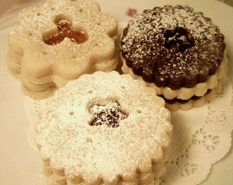 Butter Sugar Cookie Sampler, a Trio of Jams in Sugar Cookies, Gift Boxed
