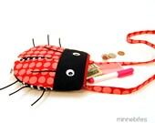 Ladybug Purse by MinneBites / Handmade Cute Toddler Girls Purse - Cross Body Purse - Lady Bug Birthday - Small Pink Purse - Ready to Ship