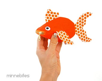 Goldfish Pouch by MinneBites / Handmade Fish Coin Purse - Cute Orange Pet Goldfish Wristlet - Preschool Toddler Snack Pouch - Ready to Ship